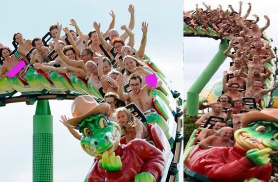 Astaghfirullah…!!!Ratusan Orang ini Nekat Bugil di Rollercoaster